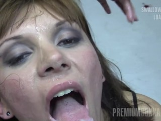 Premium Bukkake - Michelle sucks 83 gigantic mouthful cumshots
