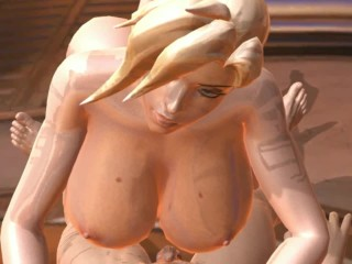 Succubus Mercy blow out all his cum to grow her titties