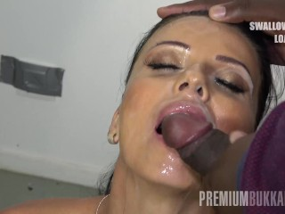 PremiumBukkake - Bronzed brunette beauty Vicky Love is always hungry for more and more sperm