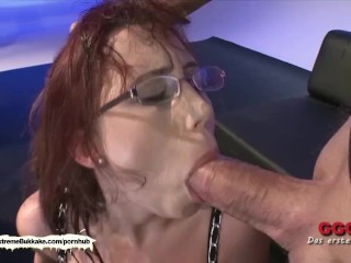 Nerdy Fiona with massive natural melons gets jizzed - Extreme Bukkake