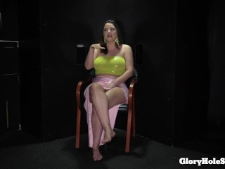 Curvy chick Alex eats the sperm out of 10 rods