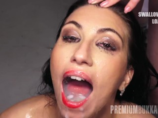 Premium Bukkake - Henna Ssy swallows 45 huge mouthful spunk loads