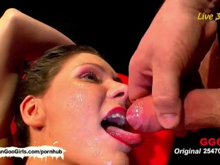 Slender brunette babe Charly getting her ass and shaved vag banged