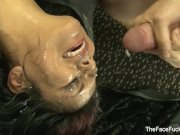 Latina MILF gets facialized from many cocks
