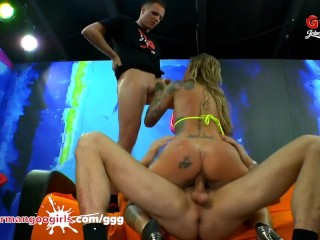 Inked Calisi rides and mounts in sperm gangbang
