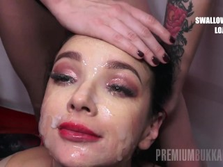 PremiumBukkake - broad Gang swallows 42 huge mouthful cumshots