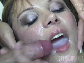 Premium Bukkake - Michelle licks 74 massive mouthful cumshots