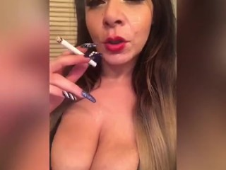 Bella Smoking a cigarette with a face full of sperm (fan request)