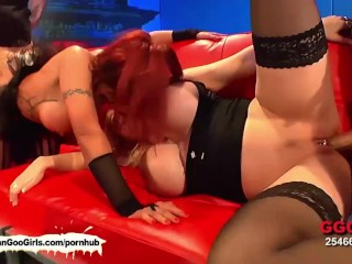 Redhead and blondie babes blow each other and share dongs and sperm