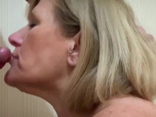 enormous Tit Milf makes coffee, instead of cream she gets a face full of jizz.