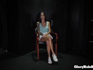 sexy thin chick blowing in the gloryhole