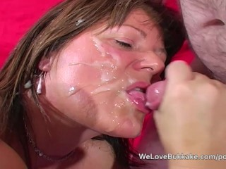 old English old wife accepts several cumshots over her face