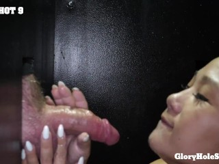 Chubby asian Milf mounts and licks strangers in the gloryhole