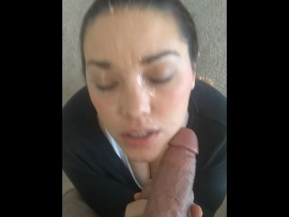 Just a facial - Shy Lynn nervous about huge facial plays with sperm after