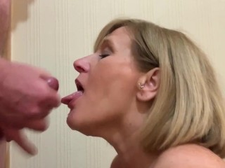 old lady blows meat like a pro and Gets a Mouth and Faceful of Hot spunk