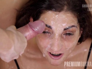 Premium Bukkake - Jimena Lago blows 81 giant mouthful cumshots