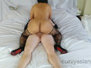 Thai MILF fucking her pussy and taking a creamy facial