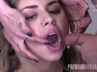 Premium Bukkake - Julie Red sucks 61 massive sperm loads in gokkun bukkake