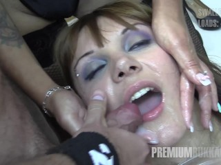 Premium Bukkake - Michelle swallows 71 monstrous mouthful cumshots